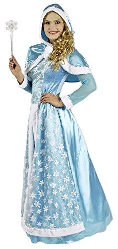 Schneekönigin Kostüm für Damen Gr. 36 38 - Hochwertiges Kostümkleid für Theater, Karneval oder Mottoparty - Eisprinzessin, Eiskönigin ELSA