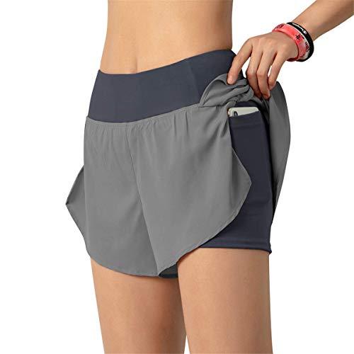 ORANDESIGNE 2 in 1 Damen Laufshorts Yoga Sport Shorts Atmungsaktiv Fitnessshose Outdoor Sporthose Traningshose Kurze Hose Fitness Running Workout Shorts Grau XXL