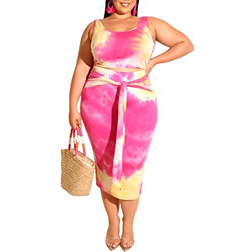 Womens Sexy Plus Size Tie Dye Print Tanks Crop Top Bandage Bodycon 2 Pieces Long Midi Pencil Dresses Outfits Skirt Set Rose Red 2XL