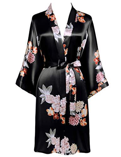 Coucoland Damen Morgenmantel Kurz Blumen GedruKt Bademantel Satin Kimono Kleid Damen Sommer Robe Leicht Schlafmantel Sexy Nachtwäsche (Schwarz)