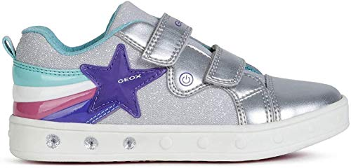 Geox Mädchen J Skylin Girl C Sneaker, Silber (Silver C1007), 30 EU