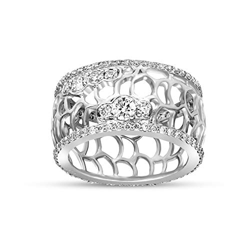 Antique 1.25ct Round Cut Diamond Certified 10K White Gold Eternity Ring Size 8
