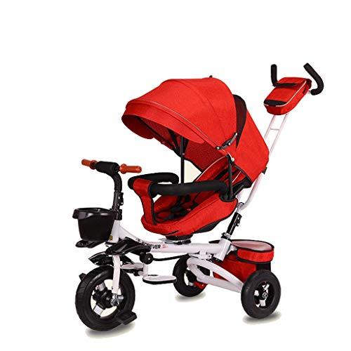 NUBAO Triciclo Evolutivo Toral Trikes Trikes para niños, Plegable 1 año de Edad Asiento Giratorio reclinable reclinador niños 3 Ruedas Caja Fuerte toldo Empuje (Color: rojo2)