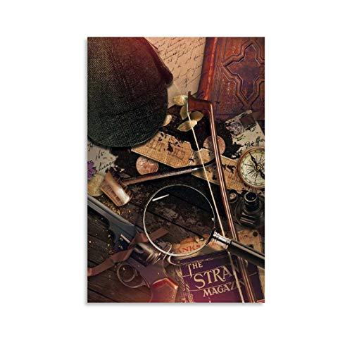 Póster decorativo de la película de la mesa de Sherlock Holmes' de la lona de la pared del arte de la pared de la sala de estar carteles del dormitorio pintura de 20 x 30 cm