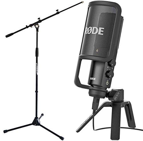 Rode MS106BK - Condensatore NT-USB con supporto da tavolo e protezione pop + supporto microfono Keepdrum con Galgen