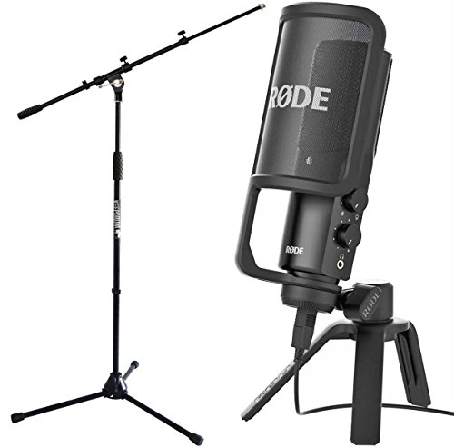 Rode NT-USB Microphone à condensateur USB avec trépied de table et protection anti-pop + pied de microphone Keepdrum avec perche MS106BK