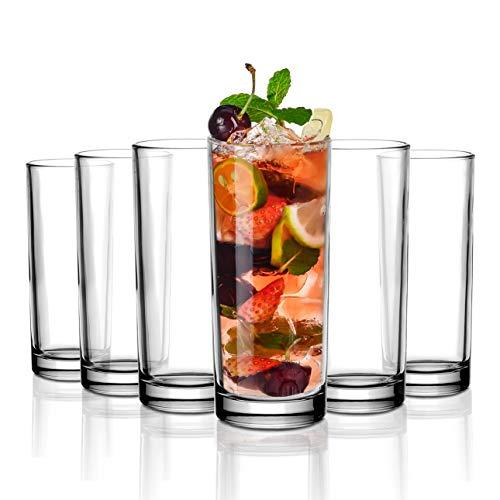 Amisglass Copas 6 Piezas de Highball Glass, Vasos Cristal Sin Plomo, Copas de Vino sin Tallo para Bebidas Mixtas, Largas, Agua, Cerveza, Vasos Vidrio de Cóctel, Champán - 230 ml