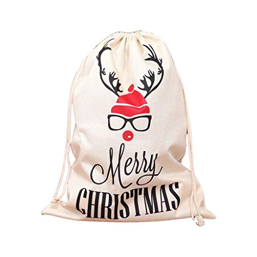 Read About Linen Christmas Candy Bag Drawstring Candy Storage Bag Christmas Party Cotton Tea Gifts B...