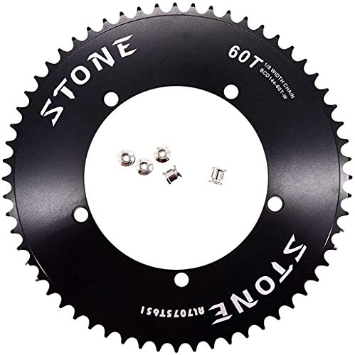 "Stone Track Bike Chainring Fixie 144 BCD 1/8"" Fixed Gear 49T 50 51 52 53 54 56 58 60 Tooth (60T)"