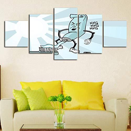 WADPJ Nordic Cartoon tandpasta canvas druk muurkunst schilderijen voor woonkamer decor-40x60 40x80 40x100 cm geen lijst