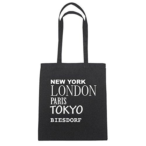JOllify BIESDORF Baumwolltasche Tasche Beutel B5black - Farbe: schwarz: New York, London, Paris, Tokyo
