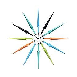 Celeste Multi-Color Large Colorful Wall Clock | Retro Wall Clock Starburst | 24 inch Big Colorful Clock | Black, Aqua, Blue, Orange, Green