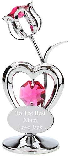 Go Find A Gift Personalised Engraved Crystocraft Flower Ornament with Red Crystals