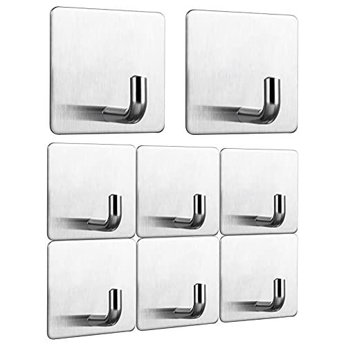 Ganchos adhesivos Lavvio, 8 unidades, ganchos autoadhesivos de acero inoxidable, sin agujeros, para baño, inodoro, cocina, oficina, acero inoxidable, ganchos autoadhesivos y ganchos de pared