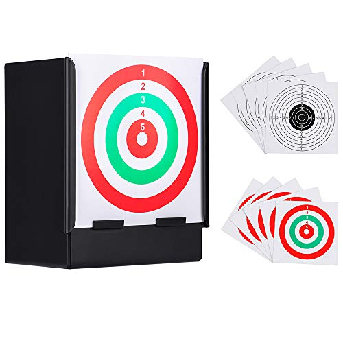 GearOZ Airsoft Pellet Target-Solid Metal Bullet Catcher with 10 PCS Paper Shooting Targets