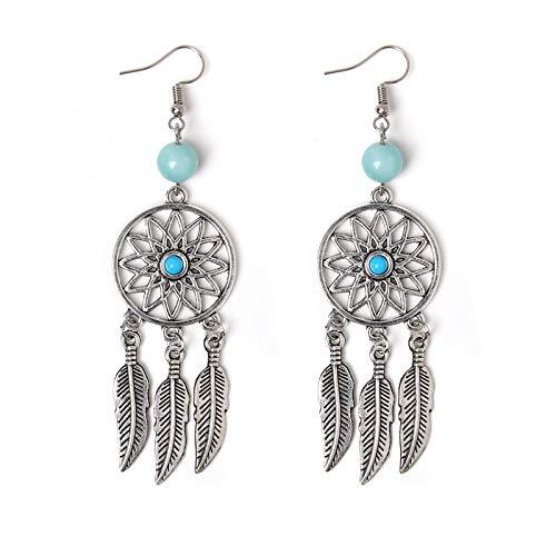 Pendientes de Bohemia para mujer, cuentas de turquesas, borla de gota de oreja, aleación, colgante Tribal, joyería exquisita única, Vintage Ethinc creativo