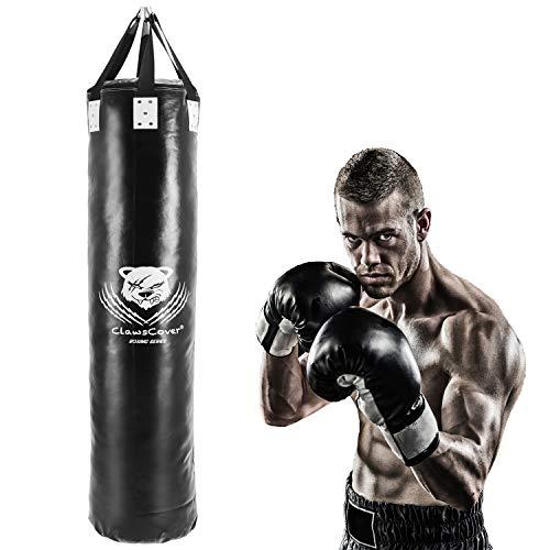ClawsCover 182 cm schwerer Boxsack, ungefüllt, Premium-Leder, zum Aufhängen, für MMA, Muay Thai, Kampfsport, Taekwondo, Workout, Fitness, Schwarz