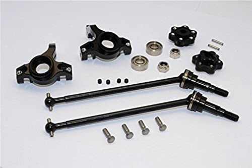 Axial Yeti (AX90026) & Yeti SCORE (AX90068) Tuning Teile Aluminium Front Knuckle Arm With Hex Adapters & Steel Front CVD Drive Shaft - 6Pcs Set (Thickness Design) schwarz