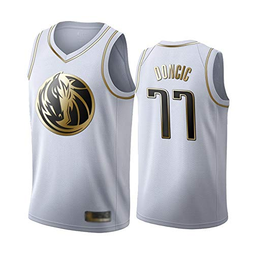 WOLFIRE WF Camiseta de Baloncesto para Hombre, NBA, Dallas Mavericks #77 Luka Doncic. Bordado, Transpirable y Resistente al Desgaste Camiseta para Fan (Golden Edition 2020 Blanca, 3XL)