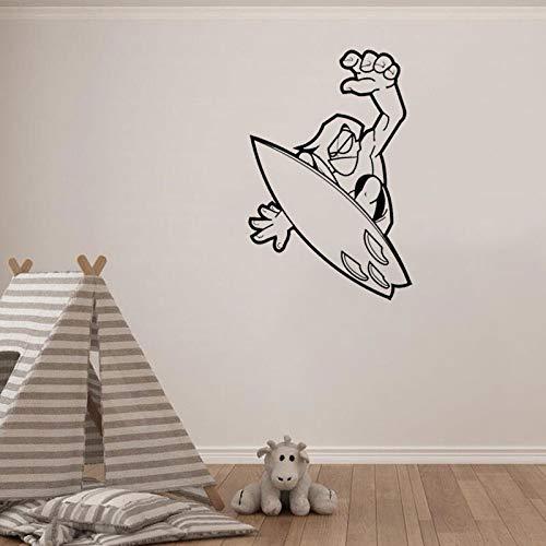 WERWN ComicsWall Sticker Decal Surfing Deporte Vinilo Pegatinas de Pared para habitacin de nios Diseo de Dormitorio Moderno extrable Decoracin del hogar de Vacaciones Interior 42 * 64cm