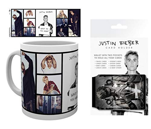 1art1 Justin Bieber, Purpose, What Do You Mean? Taza Foto (9x8 cm) Y 1 Justin Bieber, Tarjeteros para Tarjetas De Crédito (10x7 cm)