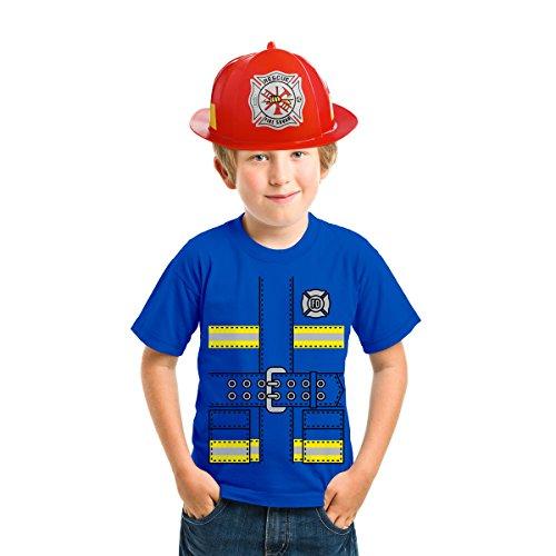 Faschings Feuerwehrmann Kinder Kostüm - T-Shirt + Roter Feuerwehr Helm Shirt Blau 128