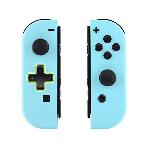 eXtremeRate Soft Grip JoyCon Cover Impugnatura Custodia Controller(D-pad Versione) Case DIY Ricambio per Nintendo Switch Joy-Con(Celeste) con Pulsanti-NON Include JoyCon