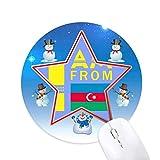 je suis de l'azerbaïdjan bonhomme de neige, tapis de souris série star mat