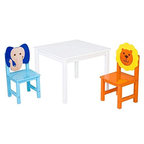 N/Z Wohngeräte Massivholz Tischhocker Sets Kinder weißer Schreibtisch und 2 Bunte Cartoon Stühle Geeignet für Kinder 2 10 Jahre alt Lernen Schreibaktivitäten Spielen
