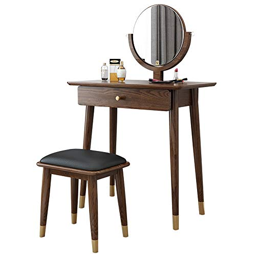 Great Features Of ChenyanAwesom Dressing Tables Vanity Table Set with Round Mirror 1 Large Drawer wi...