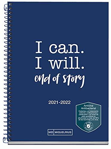 MIQUELRIUS - Agenda Escolar 2021-2022 - Tamaño ACTIVA 11,7 x 17,4 cm, Día Página, Write Marino, Idioma Español