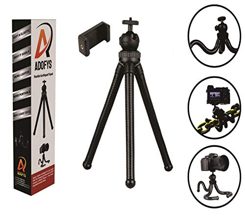 Adofys Flexible Gorillapod Tripod with 360° Rotating Ball Head Tripod for All DSLR Cameras(Max Load 1.5 kgs) & Mobile Phones + Free Heavy Duty Mobile Holder(Black) (10 Inch, Black)