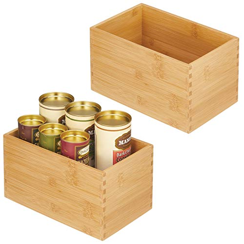 mDesign Caja de almacenaje – Organizador de cocina de madera de bambú – Cajas de bambú rectangulares para armarios de cocina, cajones o despensa – Juego de 2 – color natural