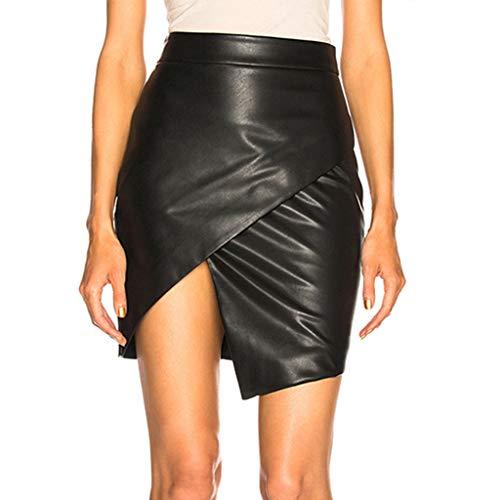 Damen Minirock Leder Optik - Sexy Wetlook Stretch Rock Leder Rock Bleistift Röcke Mini Leder Asymmetrisch High Waist Skirt Figurbetont kurz Enger Lederrock in Schwarz(SchwarzC,S)