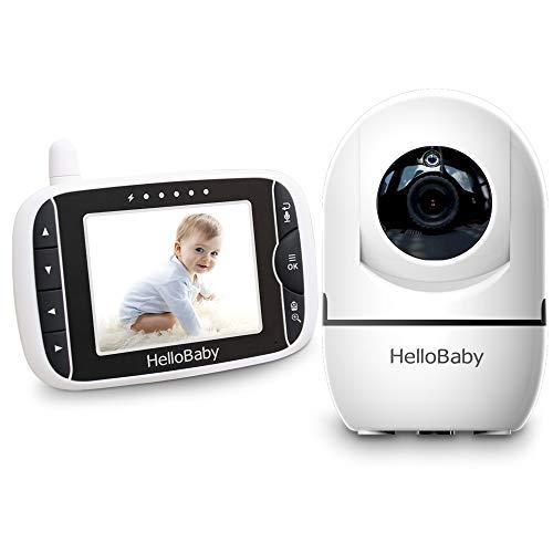 HelloBaby Video Baby Monitor con Cámara Remota Pan-Tilt-Zoom Pantalla LCD a Color de 3,2 Pulgadas Monitor Infrarrojo de Visión Nocturna Monitoreo de dos Vías HB65 (Blanco/negro)