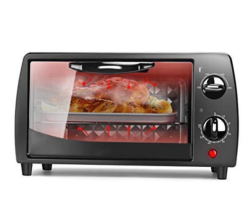 JSHFD Elektro-Mini-Backofen Schwarz Mit 60-Minuten-Timer Einstellbare Temperaturregelung Doppel-Grill 650W Geeignet for Pizza Gegrilltes Hühnchen-Kuchen