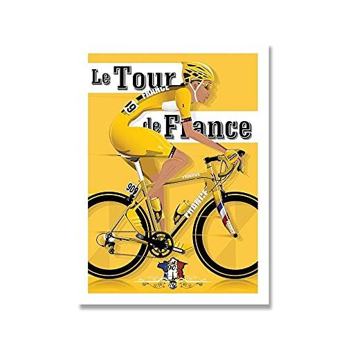 YINGFUN Deportes Bicicleta Ciclismo Lienzo Pintura Vintage Tour Paisaje Francia Gran Bretaña Ciclista Cartel de la Pared Imprimir imágenes Decoración del hogar (Color : B, Size : 40x50cm No Frame)