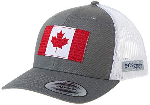 Columbia Unisex Mesh Snap Back Fisch Flagge Ball Cap Atmungsaktiv Verstellbar Titan/Kanada Flag One Size