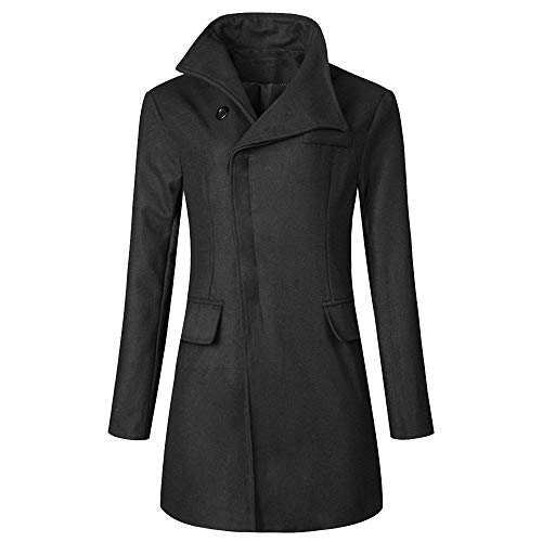 CHARTOU Men's Stylish Scarf Single breasted Wool Walker Coat Thick Winter Jacket-6 Colors (Black, Large)