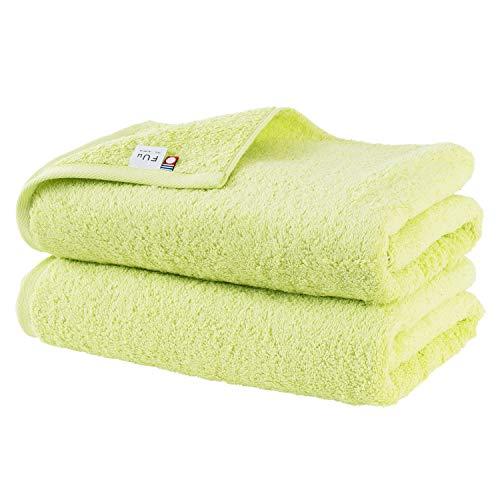 ブルーム 今治タオル 認定 FUu(ふぅ) バスタオル 綿100% やわらか ふわふわ ふかふか 日本製 (グリーン, 2枚セット)