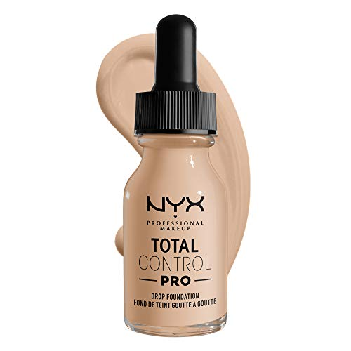 NYX Professional Makeup Total Control Pro Drop Foundation, Flüssiges Make up, Individuelle und aufbaubare Deckkraft, Vegane Formel, True-to-Skin Finish, 13 ml, Farbton: Alabaster