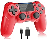 Wireless Controller for PS 4, Y-Team 1000mAh Controller for ps4 Game Gamepad Remote Joystick with Dual Vibration, Gyro, Touchpad, Headset Jack, LED, USB for ps4/Pro/Slim/PC/Laptop(Magma Red)