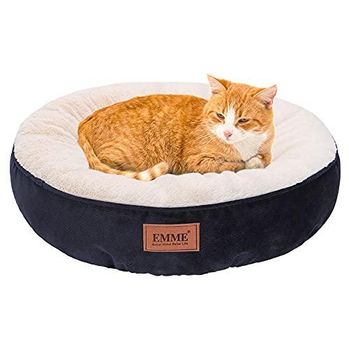 EMME Cama para mascotas para gatos y perros pequeños, cama redonda para gatos de 20 pulgadas con parte inferior antideslizante,...