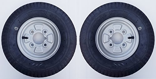 leisure MART A pair of 4.80/4.00 x 8 inch trailer wheels and tyres with 4 ply tyre and 4 inch PCD 400 x 8 Pt no. LMX1596