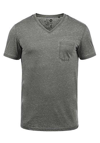 !Solid Theon Herren T-Shirt Kurzarm Shirt Mit V-Ausschnitt, Größe:L, Farbe:Mid Grey (2842)