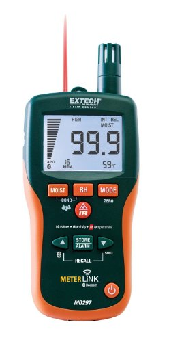 Extech MO297-NISTL Pinless Moisture Psychrometer with IR Thermometer, Bluetooth MeterLink and Limited NIST
