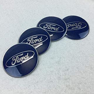 Luck16888 4Pcs 65mm Car Wheel Center Hub Caps Emblem Sticker Accessories for Ford Blue