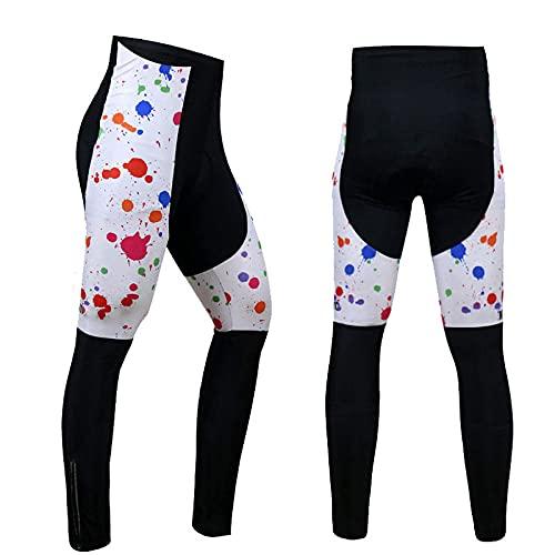 T-JMGP Hombre Ciclismo Maillotpantalones De Vigilancia De Terciopelo De Invierno Más, Versión Profesional, Pantalones De Montaje, Pantalones De Bicicleta Hombres-Blanco 057_S