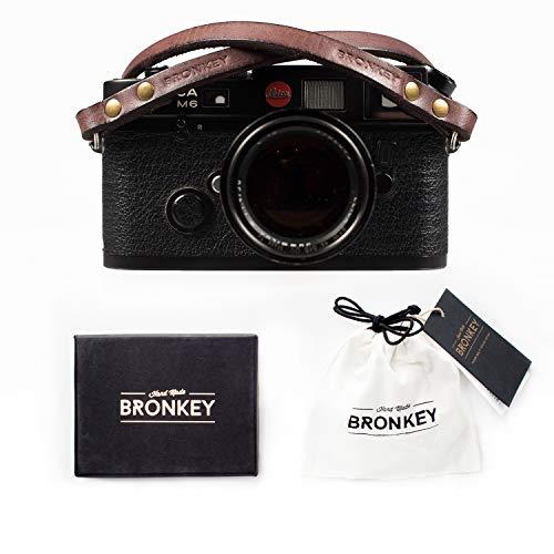 Bronkey Berlin 102 (95cm) - Correa Camara Cuello Vintage Retro cámara Compacta Piel Cuero Original Reflex DSLR SLR