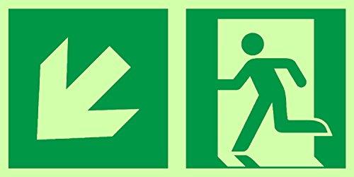 Anro segnali di uscita di emergenza | Freccia in basso a sinistra | Si illuminano al buio e Autoadesivo | Segno di sicurezza e avvertenza PVC | 150 x 300 mm